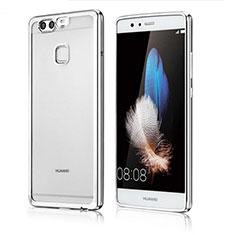 Huawei P9用極薄ソフトケース シリコンケース 耐衝撃 全面保護 クリア透明 H04 ファーウェイ シルバー