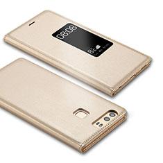 Huawei P9用手帳型 レザーケース スタンド L03 ファーウェイ ゴールド