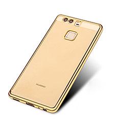 Huawei P9用極薄ソフトケース シリコンケース 耐衝撃 全面保護 クリア透明 T11 ファーウェイ ゴールド