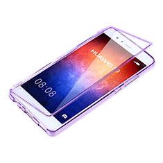 Huawei P9用ソフトケース フルカバー クリア透明 ファーウェイ パープル