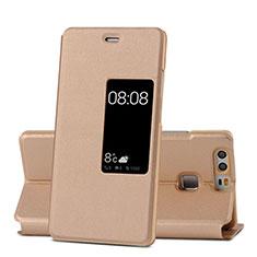 Huawei P9用手帳型 レザーケース スタンド ファーウェイ ゴールド