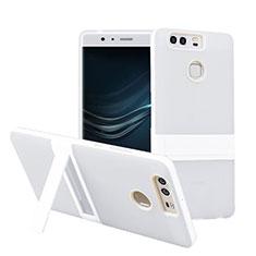 Huawei P9用ハイブリットバンパーケース スタンド プラスチック ファーウェイ ホワイト
