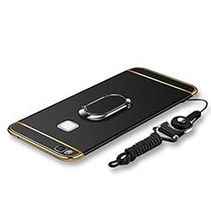 Huawei P9 Lite用ケース 高級感 手触り良い メタル兼プラスチック バンパー アンド指輪 亦 ひも ファーウェイ ブラック