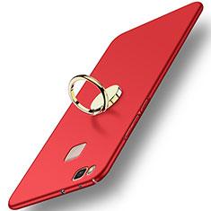 Huawei P9 Lite用ハードケース プラスチック 質感もマット アンド指輪 ファーウェイ レッド