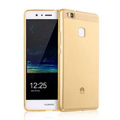 Huawei P9 Lite用極薄ソフトケース シリコンケース 耐衝撃 全面保護 クリア透明 ファーウェイ ゴールド