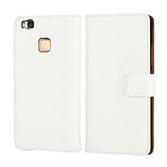 Huawei P9 Lite用手帳型 レザーケース ファーウェイ ホワイト