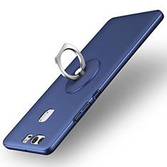 Huawei P9 Plus用ハードケース プラスチック 質感もマット アンド指輪 ファーウェイ ネイビー