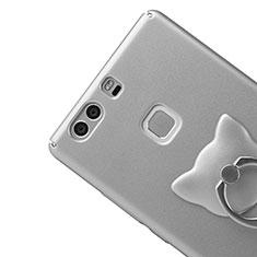 Huawei P9 Plus用ハードケース プラスチック 質感もマット アンド指輪 ファーウェイ シルバー