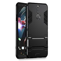 Huawei Rhone用ハイブリットバンパーケース スタンド プラスチック 兼シリコーン ファーウェイ ブラック