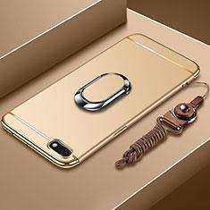 Huawei Y5 (2018)用ケース 高級感 手触り良い メタル兼プラスチック バンパー アンド指輪 亦 ひも ファーウェイ ゴールド