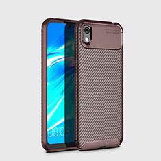 Huawei Y5 (2019)用シリコンケース ソフトタッチラバー ツイル カバー ファーウェイ ブラウン