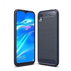 Huawei Y5 (2019)用シリコンケース ソフトタッチラバー ライン カバー ファーウェイ ネイビー