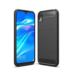 Huawei Y5 (2019)用シリコンケース ソフトタッチラバー ライン カバー ファーウェイ ブラック