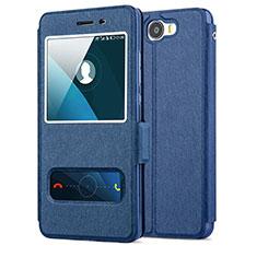 Huawei Y5 II Y5 2用手帳型 レザーケース スタンド ファーウェイ ネイビー