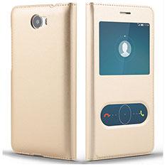 Huawei Y5 II Y5 2用手帳型 レザーケース スタンド L01 ファーウェイ ゴールド