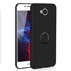 Huawei Y6 (2017)用ハードケース プラスチック 質感もマット アンド指輪 A01 ファーウェイ ブラック