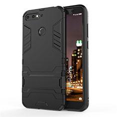 Huawei Y6 (2018)用ハイブリットバンパーケース スタンド プラスチック 兼シリコーン カバー A01 ファーウェイ ブラック