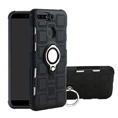 Huawei Y6 (2018)用ハイブリットバンパーケース プラスチック アンド指輪 マグネット式 ファーウェイ ブラック