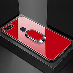 Huawei Y6 (2018)用ハイブリットバンパーケース プラスチック 鏡面 カバー アンド指輪 マグネット式 ファーウェイ レッド