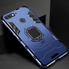 Huawei Y6 (2018)用ハイブリットバンパーケース スタンド プラスチック 兼シリコーン カバー マグネット式 ファーウェイ ネイビー