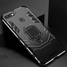 Huawei Y6 (2018)用ハイブリットバンパーケース スタンド プラスチック 兼シリコーン カバー マグネット式 ファーウェイ ブラック