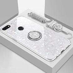 Huawei Y6 (2018)用ハイブリットバンパーケース プラスチック 鏡面 カバー アンド指輪 マグネット式 M01 ファーウェイ ホワイト