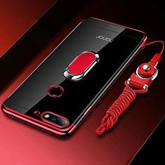 Huawei Y6 (2018)用極薄ソフトケース シリコンケース 耐衝撃 全面保護 クリア透明 アンド指輪 マグネット式 S01 ファーウェイ レッド