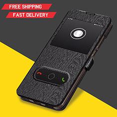 Huawei Y6 (2019)用手帳型 レザーケース スタンド ファーウェイ ブラック