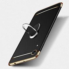 Huawei Y6 (2019)用ケース 高級感 手触り良い メタル兼プラスチック バンパー アンド指輪 ファーウェイ ブラック