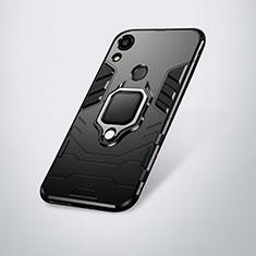 Huawei Y6 (2019)用ハイブリットバンパーケース スタンド プラスチック 兼シリコーン カバー ファーウェイ ブラック