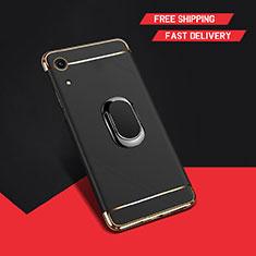 Huawei Y6 (2019)用ケース 高級感 手触り良い メタル兼プラスチック バンパー アンド指輪 A01 ファーウェイ ブラック