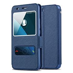 Huawei Y6用手帳型 レザーケース スタンド ファーウェイ ネイビー