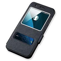 Huawei Y6用手帳型 レザーケース スタンド ファーウェイ ブラック