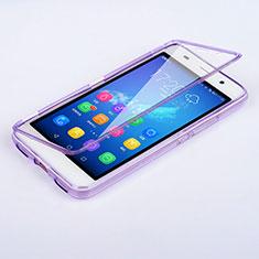 Huawei Y6用ソフトケース フルカバー クリア透明 ファーウェイ パープル