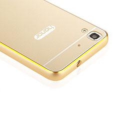 Huawei Y6用ケース 高級感 手触り良い アルミメタル 製の金属製 バンパー ファーウェイ ゴールド