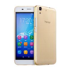 Huawei Y6用極薄ソフトケース シリコンケース 耐衝撃 全面保護 クリア透明 ファーウェイ ゴールド