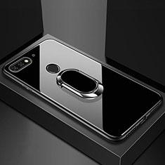 Huawei Y6 Prime (2018)用ハイブリットバンパーケース プラスチック 鏡面 カバー アンド指輪 マグネット式 ファーウェイ ブラック