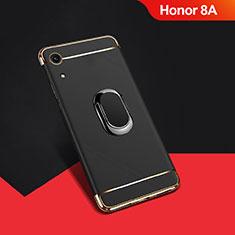 Huawei Y6 Prime (2019)用ケース 高級感 手触り良い メタル兼プラスチック バンパー アンド指輪 A01 ファーウェイ ブラック