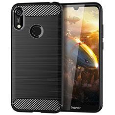 Huawei Y6 Prime (2019)用シリコンケース ソフトタッチラバー ライン カバー ファーウェイ ブラック