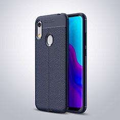 Huawei Y6 Prime (2019)用シリコンケース ソフトタッチラバー レザー柄 ファーウェイ ネイビー