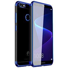Huawei Y6 Pro (2017)用極薄ソフトケース シリコンケース 耐衝撃 全面保護 クリア透明 H01 ファーウェイ ネイビー