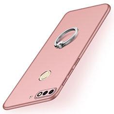 Huawei Y7 (2018)用ハードケース プラスチック 質感もマット アンド指輪 A02 ファーウェイ ローズゴールド