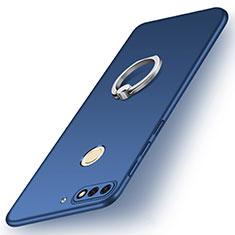 Huawei Y7 (2018)用ハードケース プラスチック 質感もマット アンド指輪 A02 ファーウェイ ネイビー