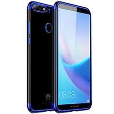 Huawei Y7 (2018)用極薄ソフトケース シリコンケース 耐衝撃 全面保護 クリア透明 H01 ファーウェイ ネイビー
