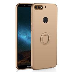 Huawei Y7 (2018)用ハードケース プラスチック 質感もマット アンド指輪 A03 ファーウェイ ゴールド