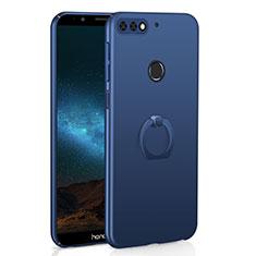 Huawei Y7 (2018)用ハードケース プラスチック 質感もマット アンド指輪 A03 ファーウェイ ネイビー