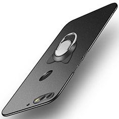 Huawei Y7 (2018)用ハードケース プラスチック 質感もマット アンド指輪 A04 ファーウェイ ブラック