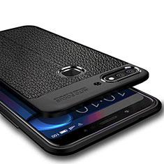 Huawei Y7 (2018)用シリコンケース ソフトタッチラバー レザー柄 ファーウェイ ブラック