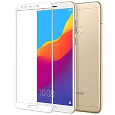 Huawei Y7 (2018)用強化ガラス フル液晶保護フィルム F05 ファーウェイ ホワイト