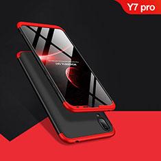 Huawei Y7 (2019)用ハードケース プラスチック 質感もマット 前面と背面 360度 フルカバー Q01 ファーウェイ レッド・ブラック